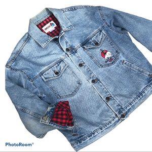 Vintage flannel lined embroidered jean jacket